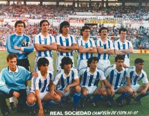 Una alineación del equipo realista de Alberto Górriz, campeón de Copa en la 86-87.