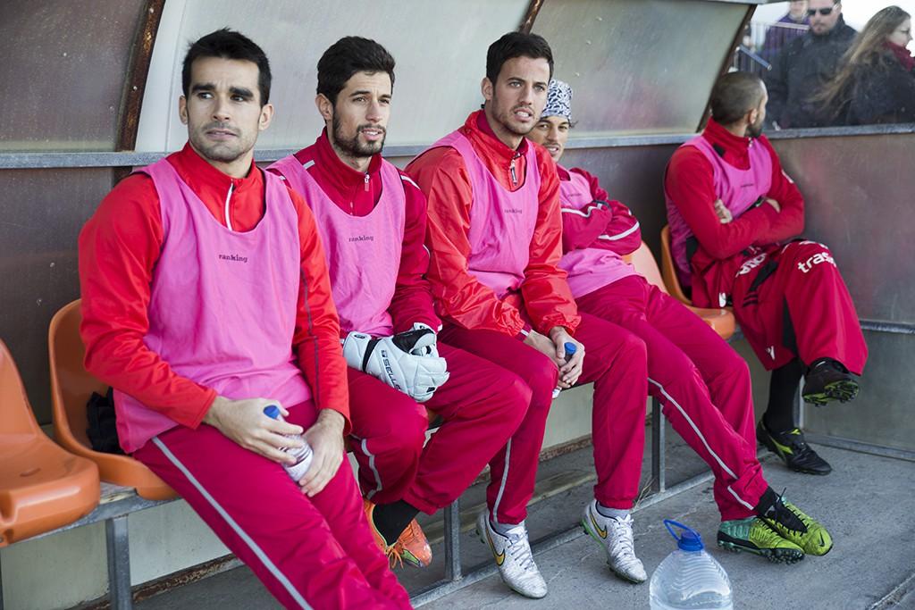 Brazález, tercero por la izquierda, ha marcado los dos goles del Formentera.
