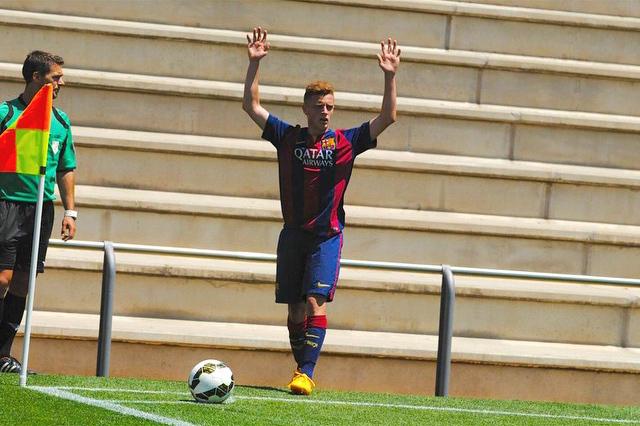 El joven ibicenco, durante un partido con el juvenil B del Barça esta temporada.