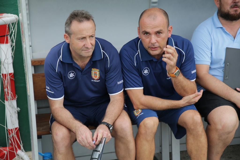 Montalbán (i) y Carlos Marí, entrenadores del Portmany.