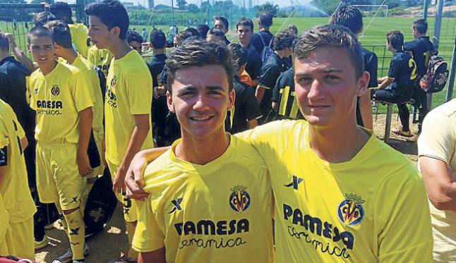 Sergi y Radek, antes de jugar un partido con el Villarreal.