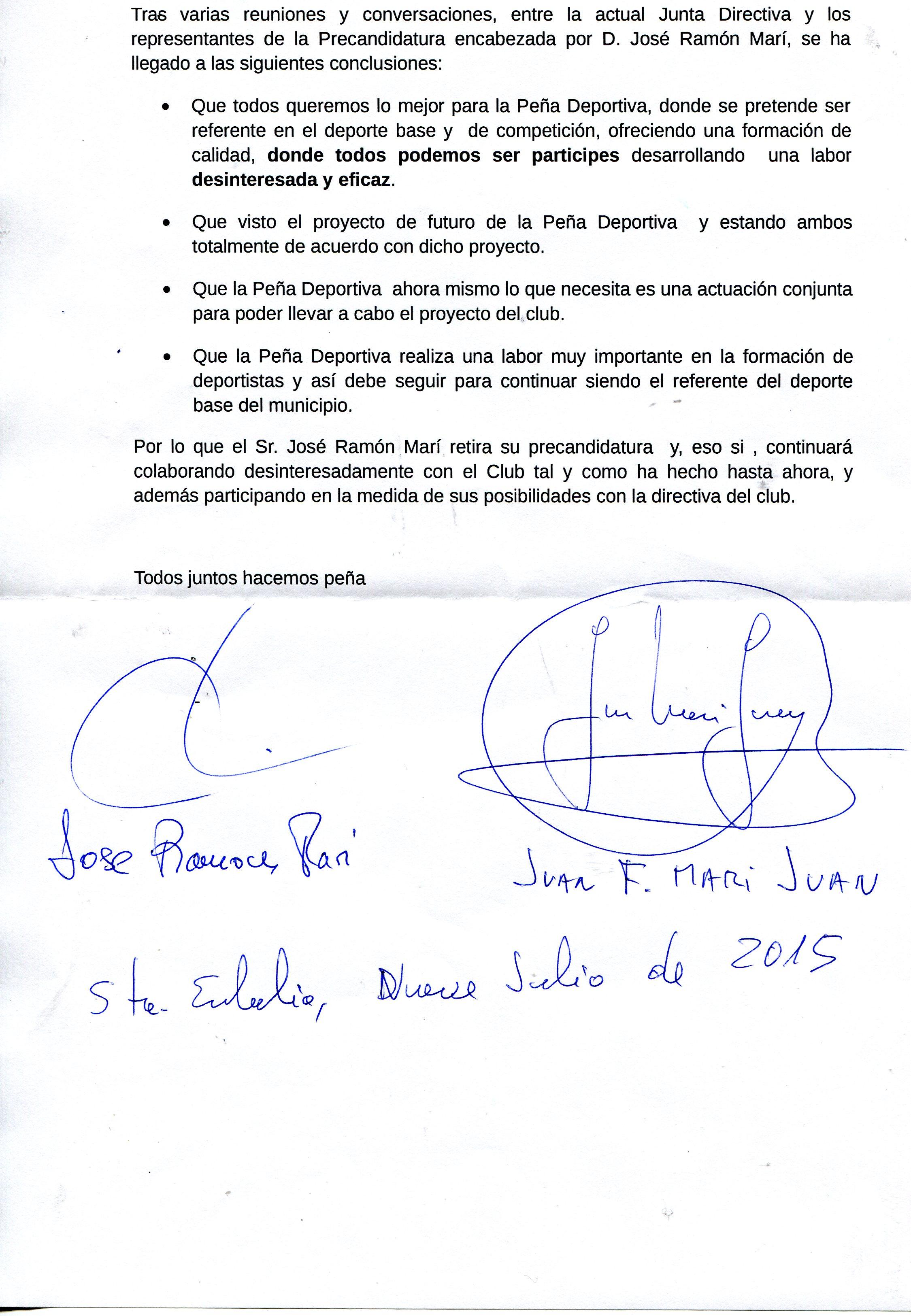 Firmas de la alianza entre ambos dirigentes.