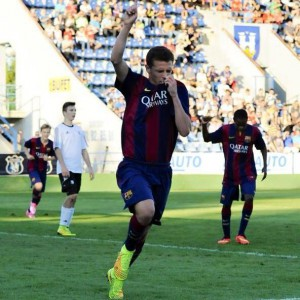 El jugador del Barça celebra un gol la pasada temporada.