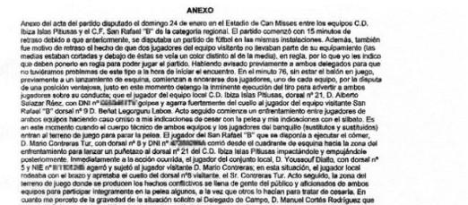 Reproducción de parte del anexo del acta redactado por el árbitro Lorenzo Aznarez