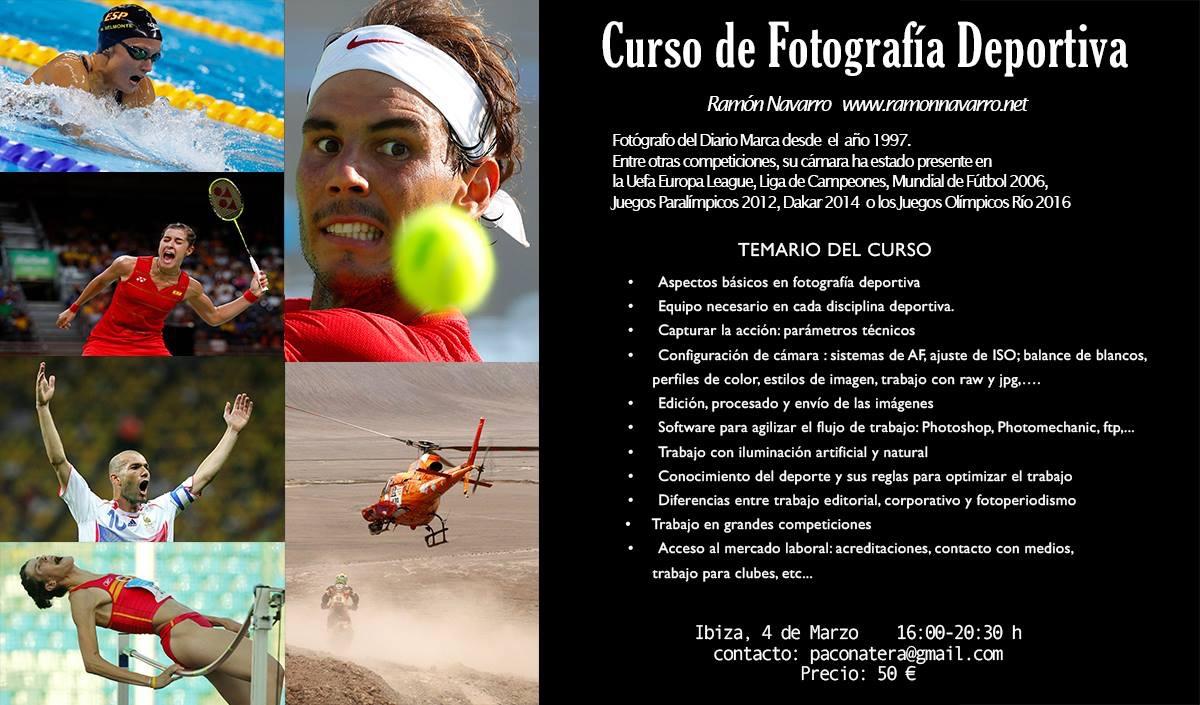 Curso de Fotografía Deportiva impartido por Ramón Navarro el próximo 4 de marzo. Quedan sólo tres plazas disponibles. Contacto: paconatera@gmail.com